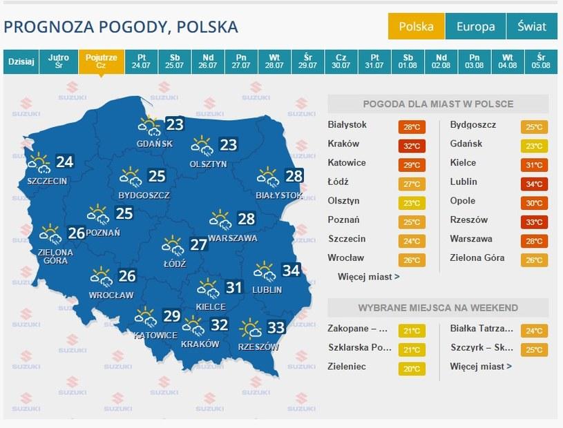 Prognoza na 23 lipca /INTERIA.PL