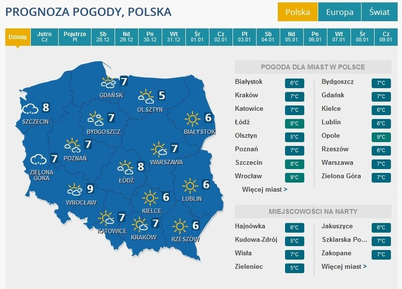 Prognoza na 25 grudnia /INTERIA.PL