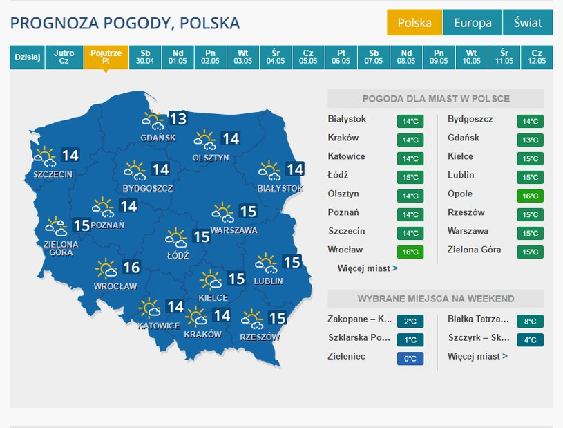 Prognoza na 29 kwietnia /INTERIA.PL