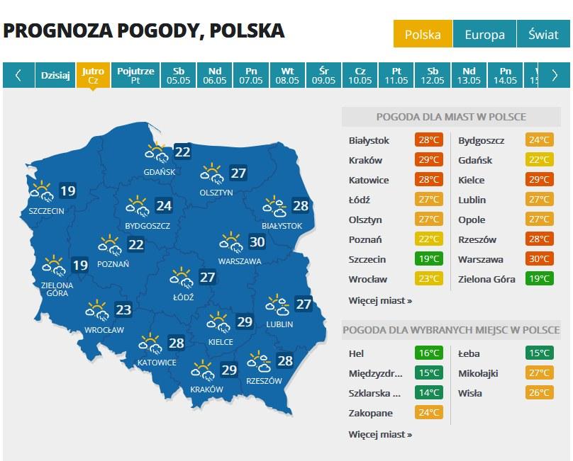 Prognoza na czwartek /INTERIA.PL
