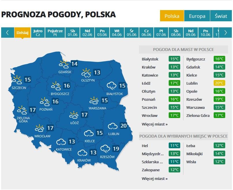 Prognoza na dziś /INTERIA.PL