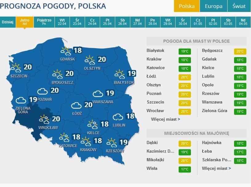 Prognoza na Niedzielę Wielkanocną /INTERIA.PL