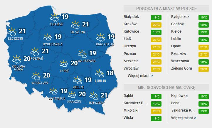 Prognoza na poniedziałek /INTERIA.PL