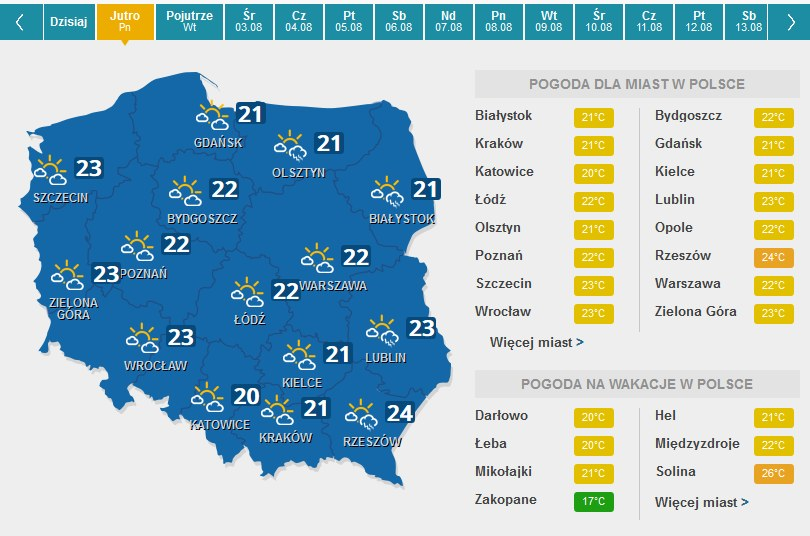 Prognoza na poniedziałek /pogoda.interia.pl /INTERIA.PL