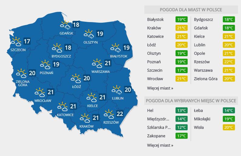 Prognoza na sobotę, 14 kwietnia /INTERIA.PL