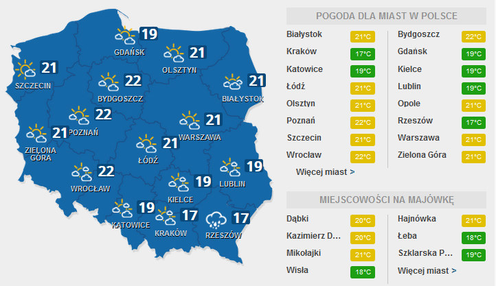 Prognoza na sobotę /INTERIA.PL