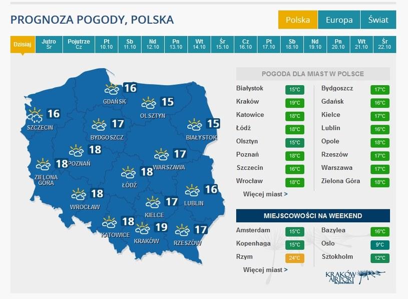 Prognoza na wtorek /INTERIA.PL