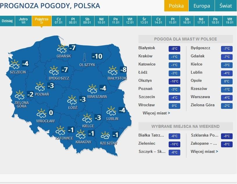 Prognoza pogoda na środę /INTERIA.PL