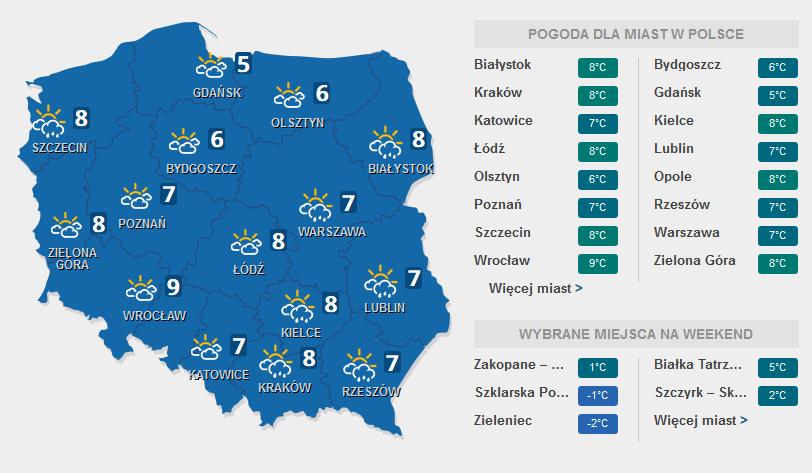 Prognoza pogody, 10 marca 2016 /INTERIA.PL