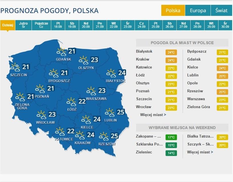 Prognoza pogody - 15 września /INTERIA.PL
