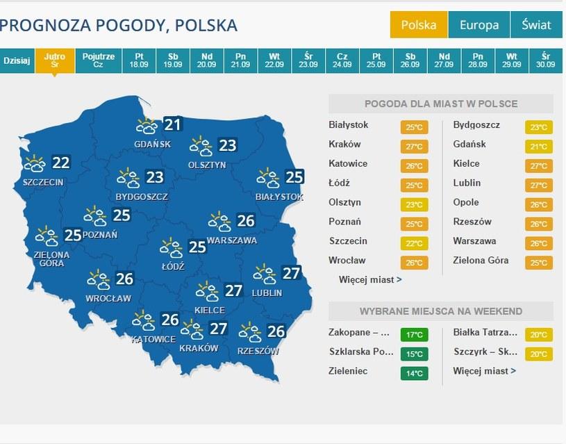 Prognoza pogody - 16 września /INTERIA.PL
