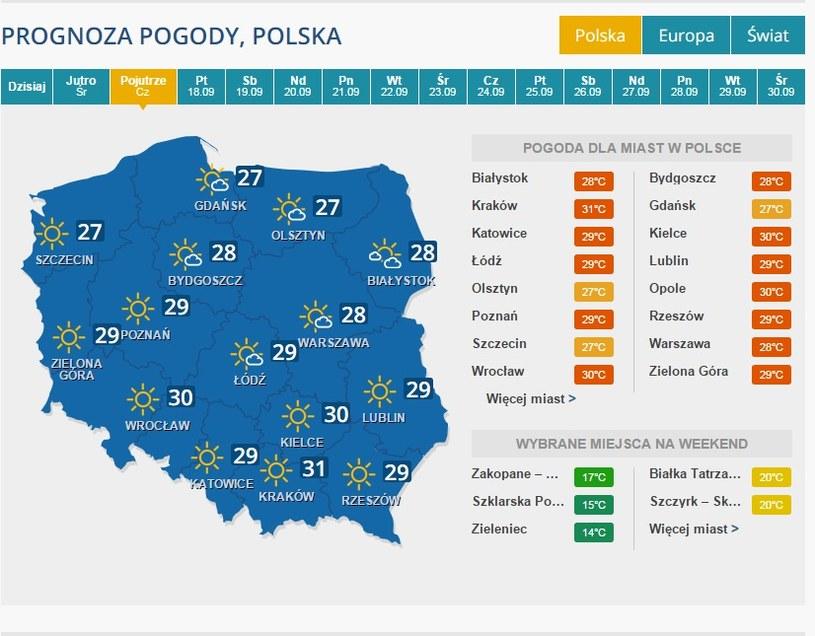 Prognoza pogody - 17 września /INTERIA.PL