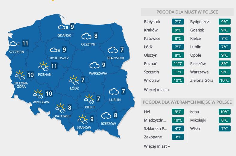 Prognoza pogody, 24 października /INTERIA.PL