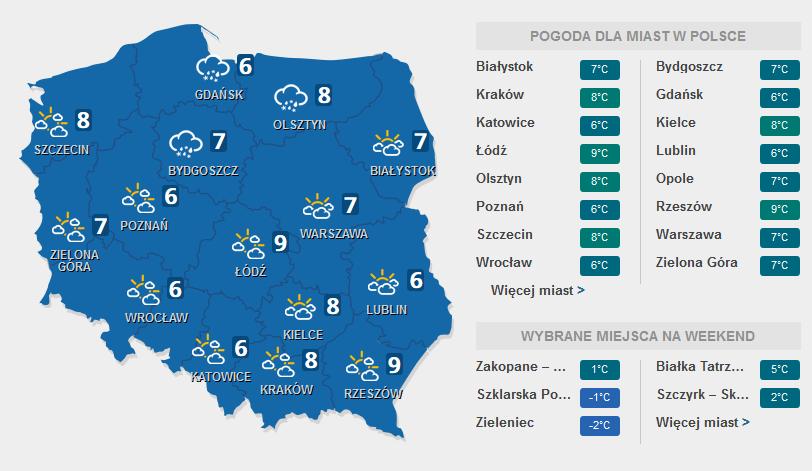 Prognoza pogody, 9 marca 2016 /INTERIA.PL