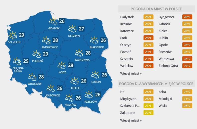 Prognoza pogody, czwartek 26 lipca /INTERIA.PL