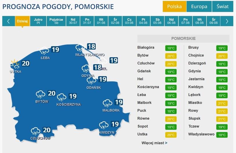Prognoza pogody dla Pomorza /INTERIA.PL