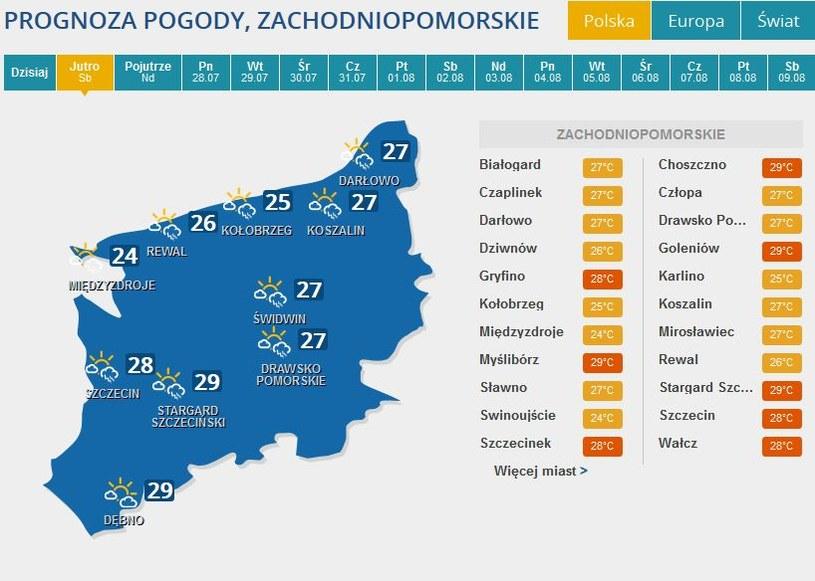 Prognoza pogody dla woj. zachodniopomorskiego /INTERIA.PL