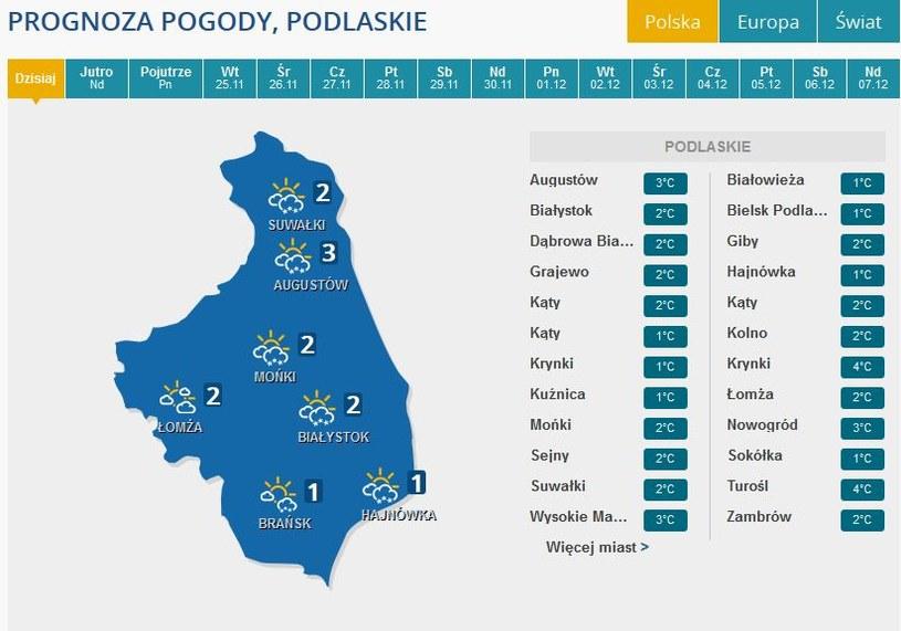Prognoza pogody dla województw podlaskiego /INTERIA.PL