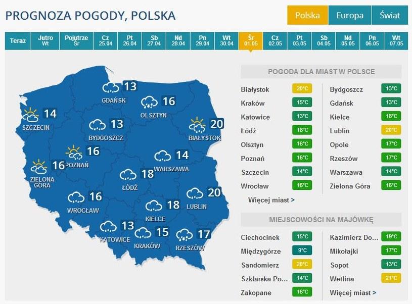 Prognoza pogody na 1 maja 2013 r. /INTERIA.PL