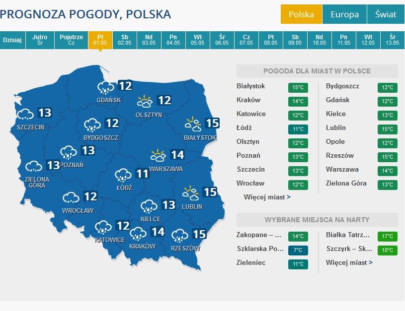 Prognoza pogody na 1 maja /INTERIA.PL