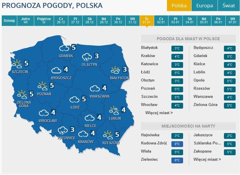 Prognoza pogody na 1 stycznia /INTERIA.PL