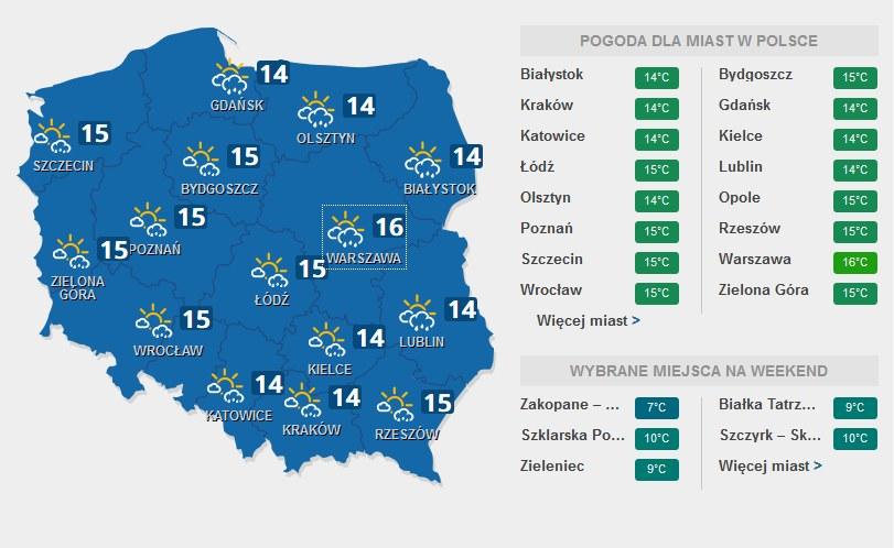 Prognoza pogody na 11 listopada /INTERIA.PL