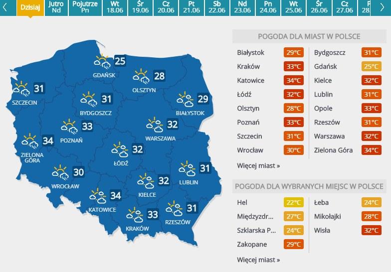 Prognoza pogody na 15 czerwca 2019 roku /INTERIA.PL