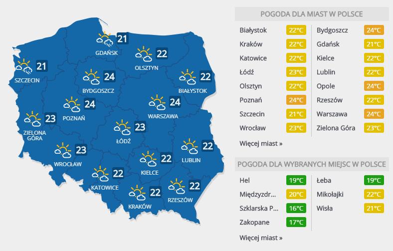 Prognoza pogody na 15 lipca /INTERIA.PL
