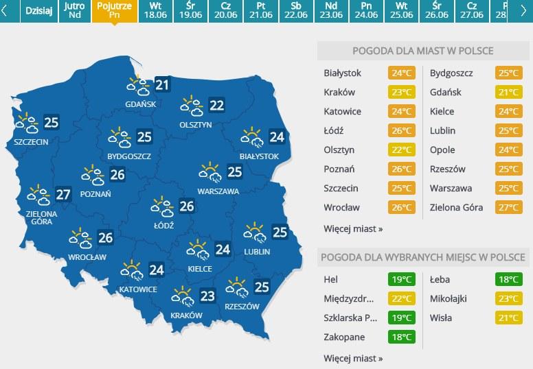 Prognoza pogody na 16 czerwca 2019 roku /INTERIA.PL