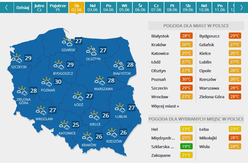 Prognoza pogody na 2 czerwca /INTERIA.PL