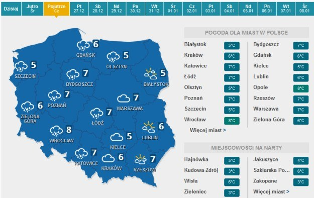 Prognoza pogody na 26.12 /pogoda.interia.pl /INTERIA.PL