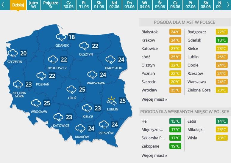 Prognoza pogody na  27 maja 2019 roku /INTERIA.PL