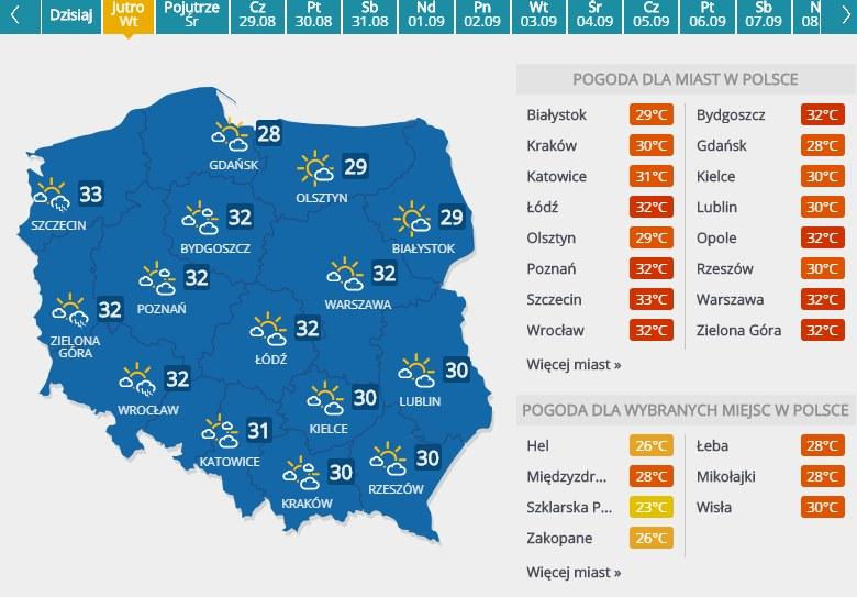Prognoza pogody na 27 sierpnia 2019 r. /INTERIA.PL