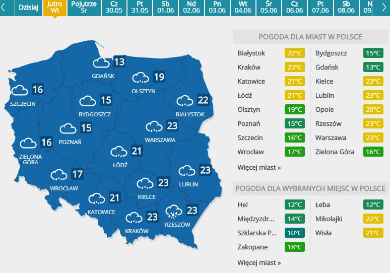 Prognoza pogody na 28 maja 2019 roku /INTERIA.PL