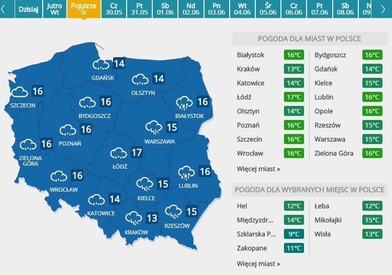 Prognoza pogody na 29 maja 2019 roku /INTERIA.PL