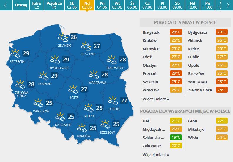 Prognoza pogody na 3 czerwca /INTERIA.PL