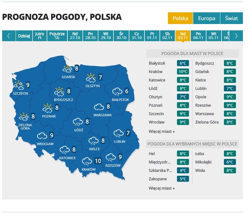 Prognoza pogody na 3 listopada /INTERIA.PL