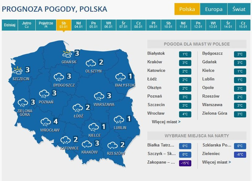 Prognoza pogody na 3 stycznia /INTERIA.PL
