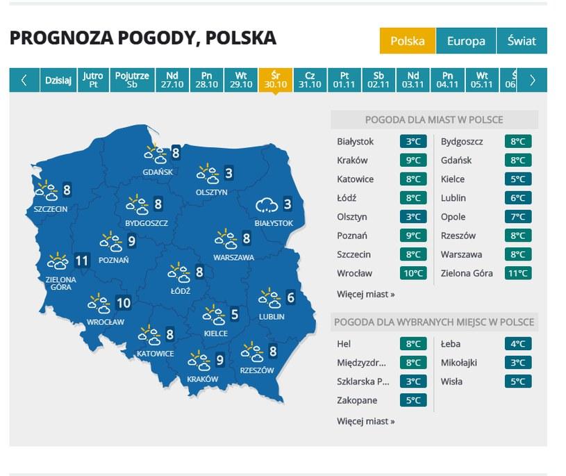 Prognoza pogody na 30 października /INTERIA.PL