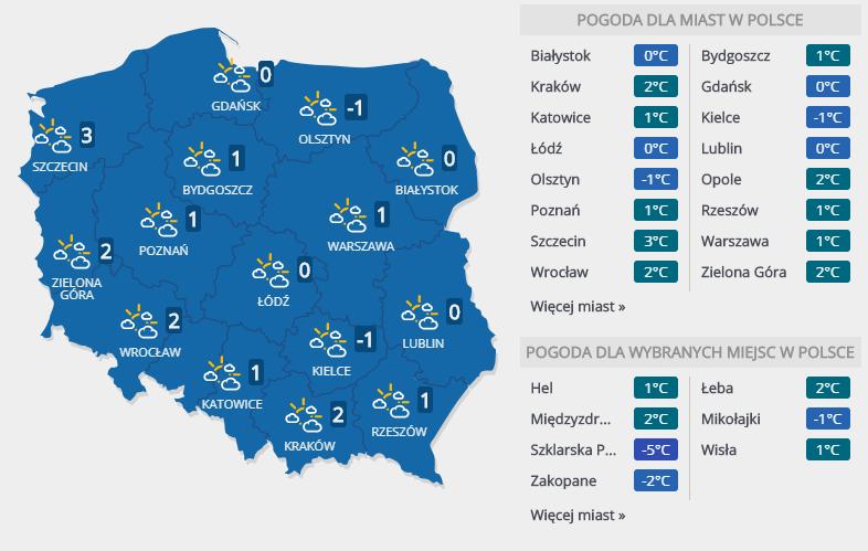 Prognoza pogody na 30 stycznia /INTERIA.PL