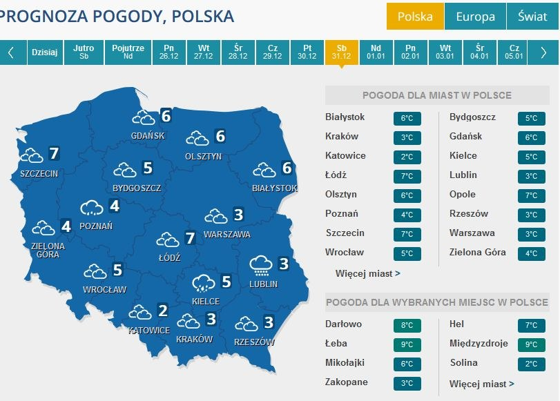Prognoza pogody na 31 grudnia /INTERIA.PL