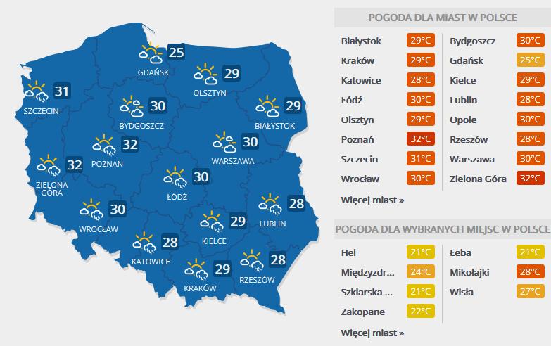 Prognoza pogody na 31 maja /INTERIA.PL