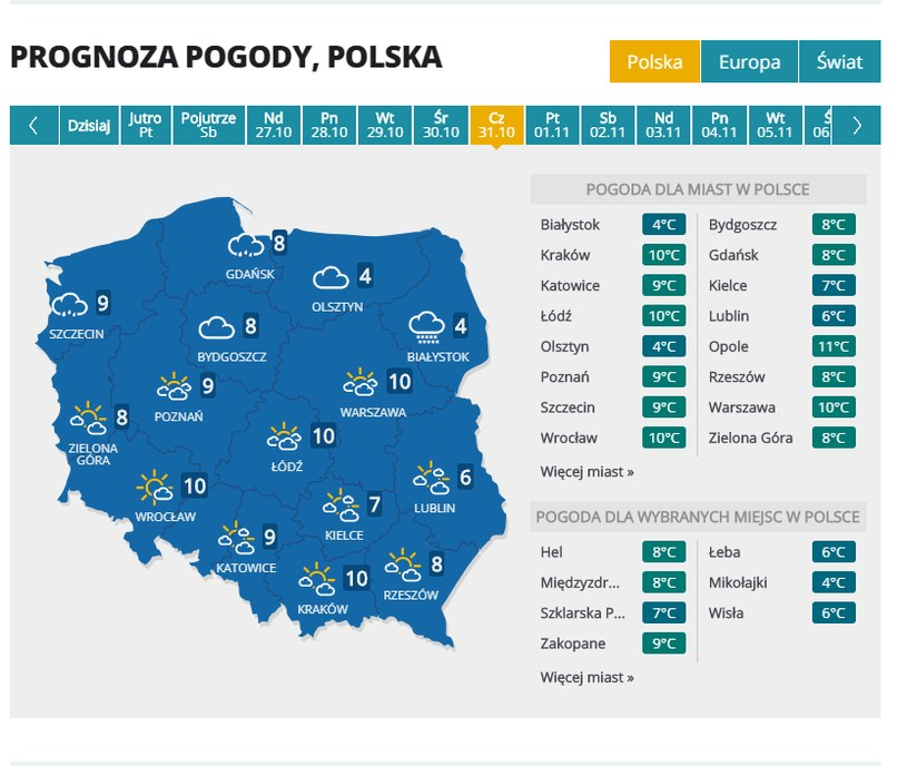 Prognoza pogody na 31 października /INTERIA.PL