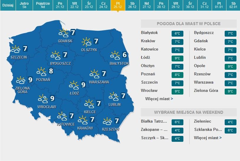 Prognoza pogody na Boże Narodzenia /INTERIA.PL