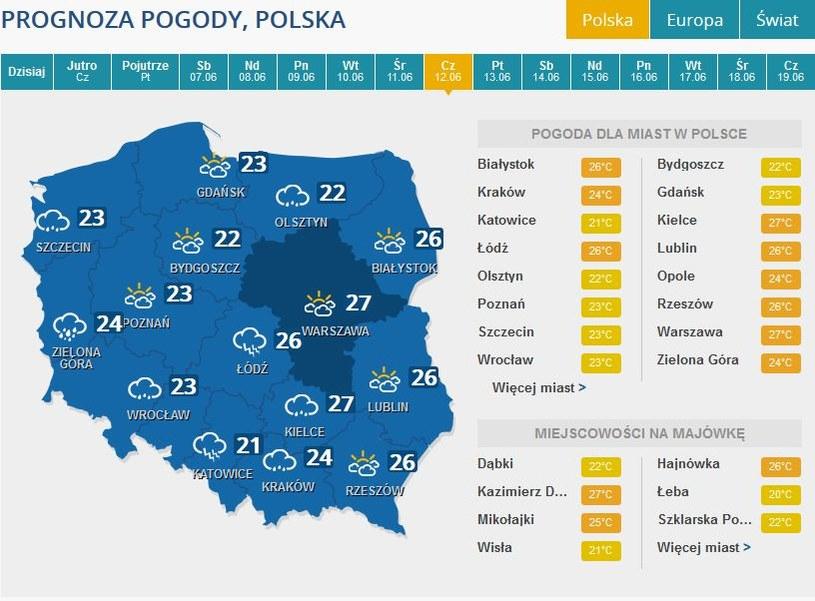 Prognoza pogody na czwartek, 12 czerwca /INTERIA.PL