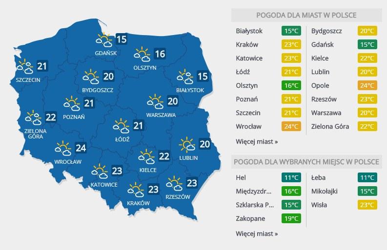 Prognoza pogody na czwartek, 12 kwietnia /INTERIA.PL