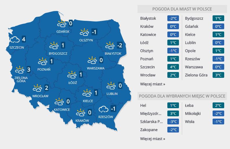 Prognoza pogody na czwartek, 15 lutego /INTERIA.PL