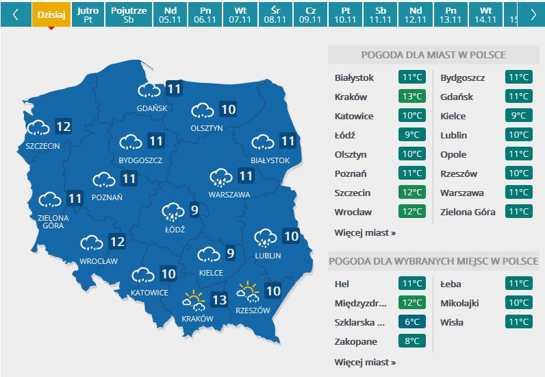 Prognoza pogody na czwartek 2.11 /INTERIA.PL