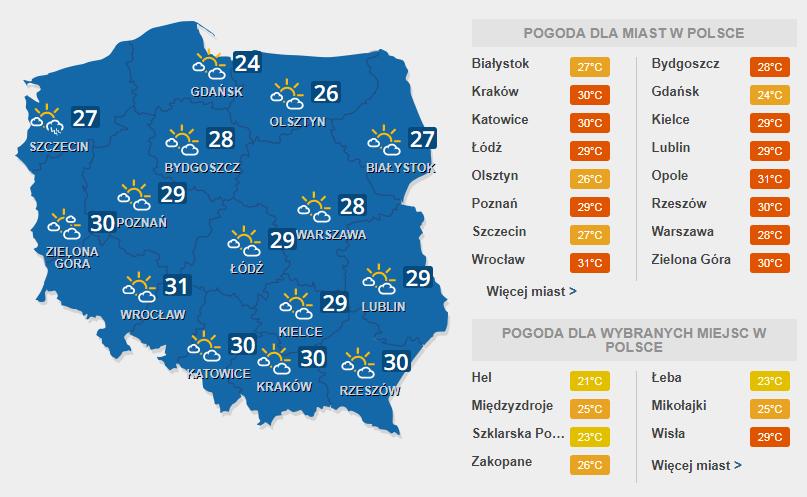 Prognoza pogody na czwartek, 20 lipca /INTERIA.PL