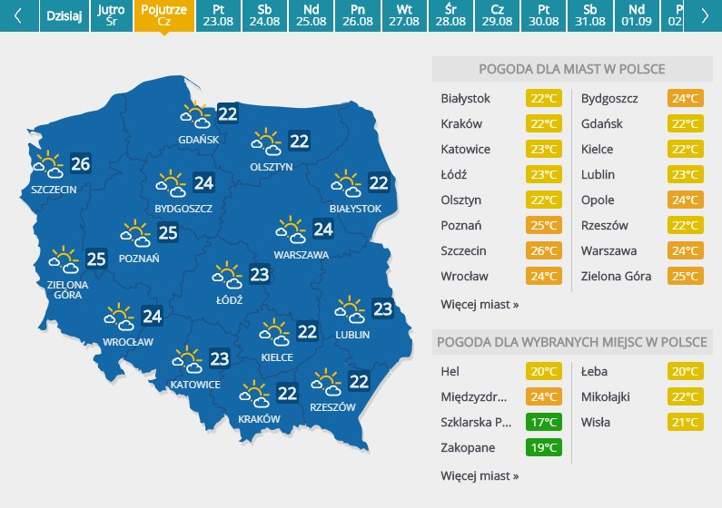 Prognoza pogody na czwartek, 22 sierpnia /INTERIA.PL